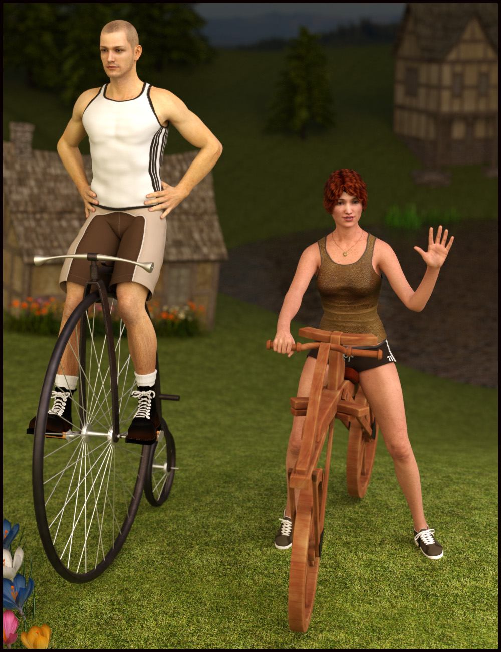 Old-fashioned Bicycle Poses for M5/V5